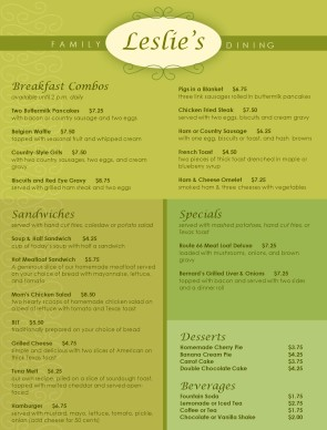 Customize Family Dining Restaurant Menu