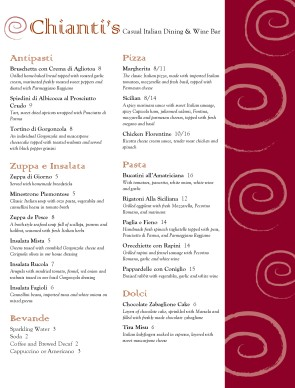 Customize Italian Bistro Menu