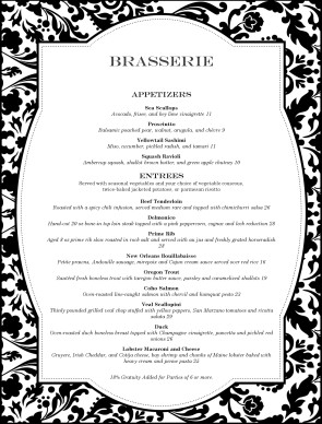 Customize fine restaurant dining menu for Fancy dinner menu template