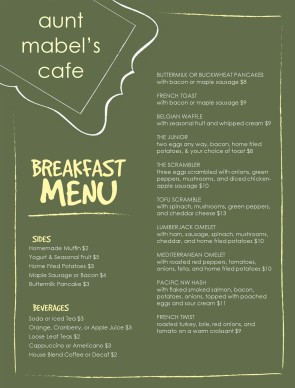 Nice Customize Menu Of Breakfast Intended Breakfast Menu Template