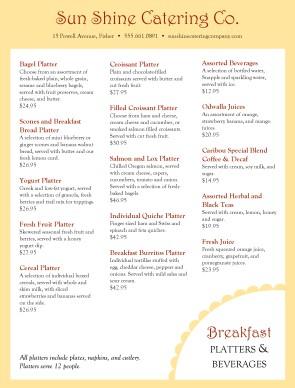 Catering Breakfast Platter Menu Breakfast Catering Menus