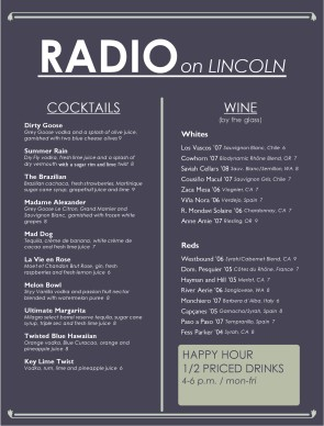 Customize Bar Drinks Menu