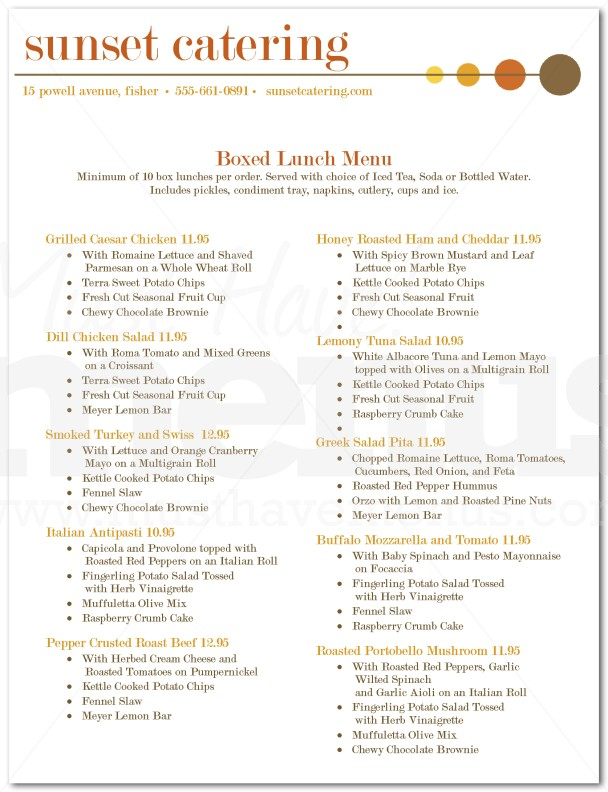 Menu For Box Lunch Catering Page 1