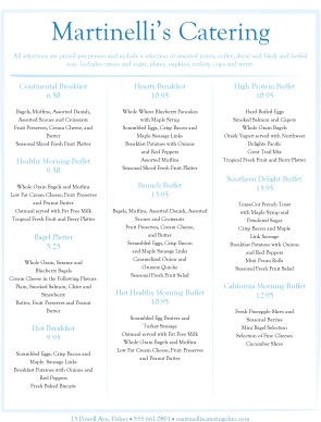 Customize Breakfast Buffet Menu