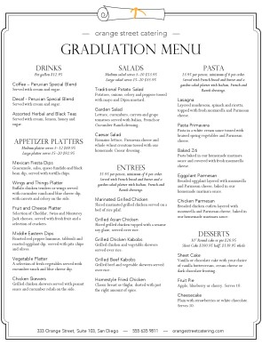 Customize Graduation Catering Menu