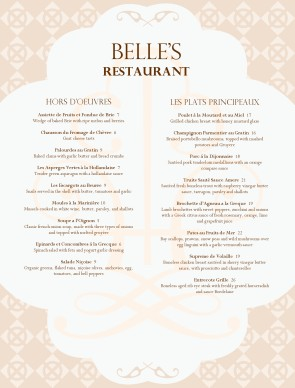 French Cuisine Menu Menus