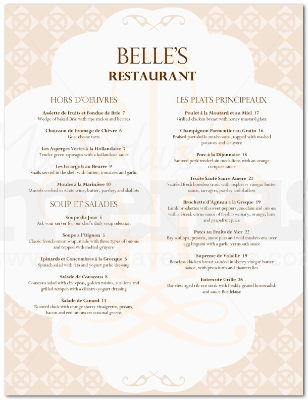 French cuisine menu page 1 for Cuisine examples
