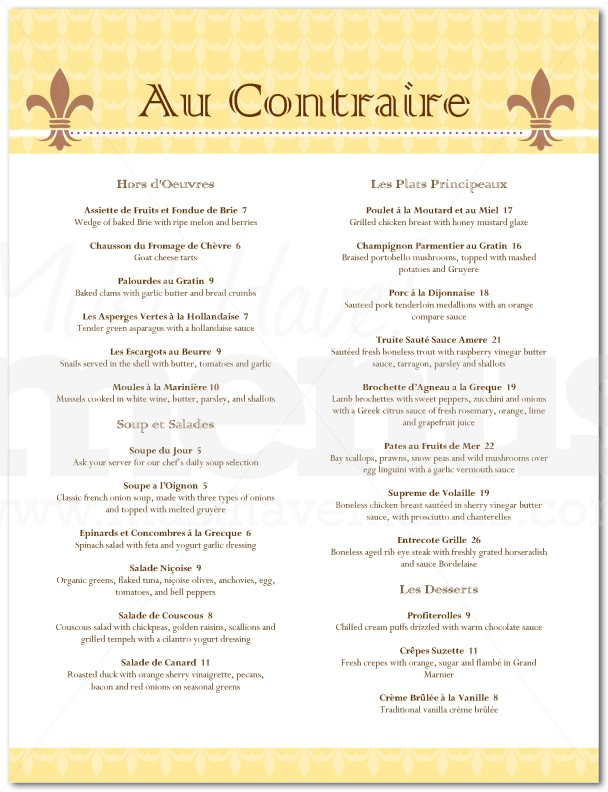 French Cafe Menu Examples
