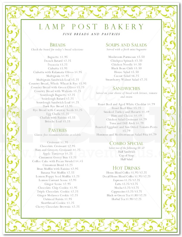 French Patisserie Menu French bakery menu / page 1 of