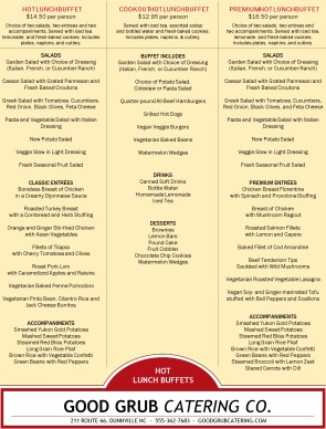 Hot Lunch Catering Menu | Template Archive
