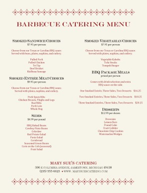 Customize Barbecue Catering Menu