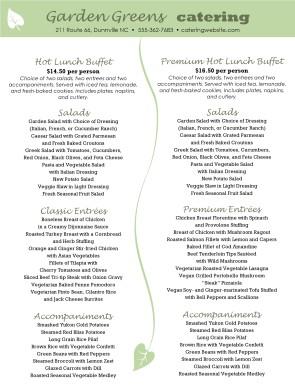 Premium Buffet Menu Lunch Catering Menus