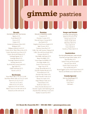 Bakery Desserts Menu | Bakery Menu
