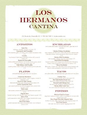 Menu For Mexican Restaurant Mexican Menus