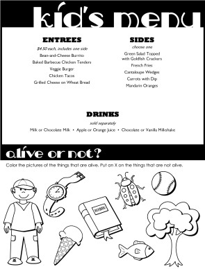 Kids Dinner Menu | Kids' Menus