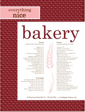 Bread Bakery Menu | Bakery Menu