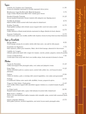 tapas menu template - fusion menu tapas menus