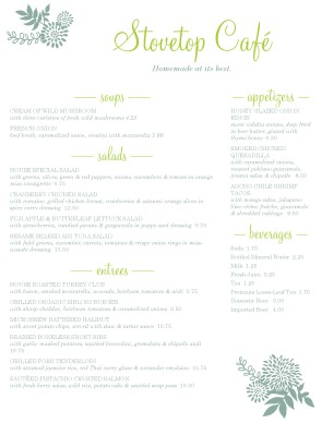 Customize Green Cafe Menu