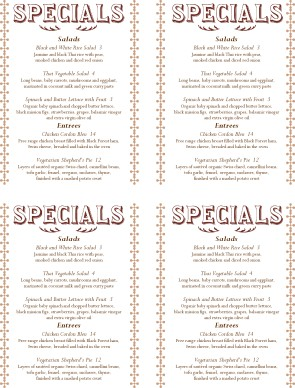 Menu Specials Template | img large watermarked