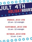 4th of July Hours Flyer