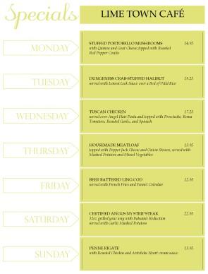 weekly specials menu daily special menus. Black Bedroom Furniture Sets. Home Design Ideas