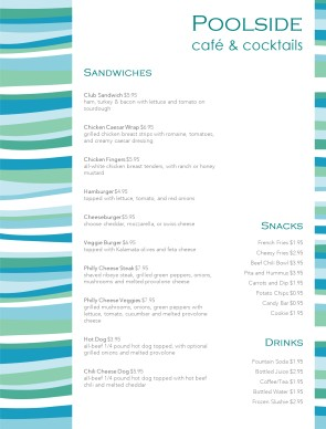 Archive poolside menu template archive for Pool design templates