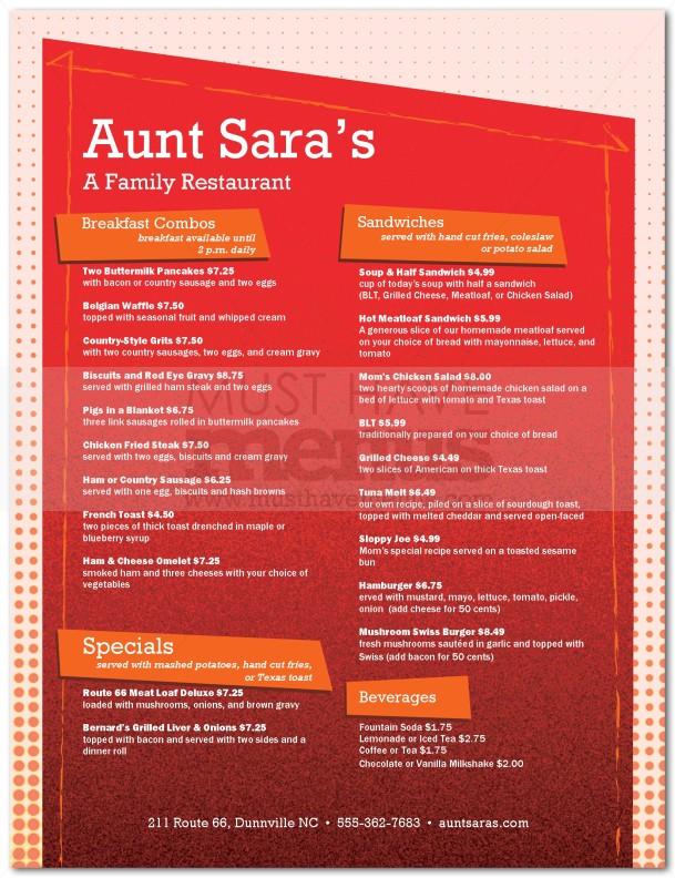 American restaurant menu page 1 for American cuisine menu