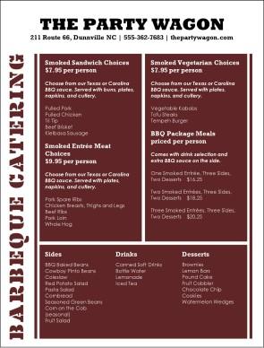 gourmet barbeque menu event catering menu