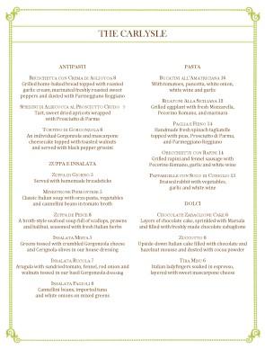 Customize Italian Fine Dining Menu