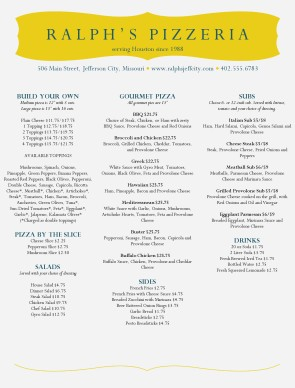 Customize City Pizza Menu