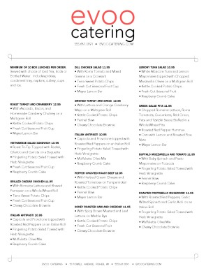 Boxed Lunch Catering Menu Lunch Catering Menus