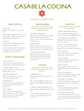 Dinner table with mexican food - Authentic Mexican Restaurant Menu Mexican Menus