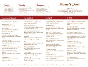 Customize The Diner Menu