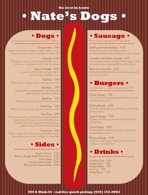 Hot Dog Grill Menu Burger Menus