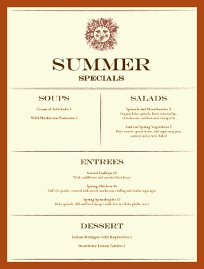 Customize Summer Specials Menu