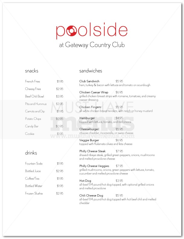 Pool snack bar menu page 1 for Snack bar menu