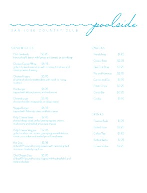 Customize Pool Grill Menu