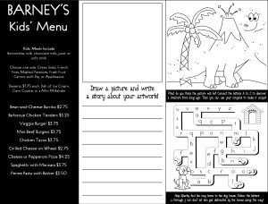 Customize Archive Kids Menu Game  Kids Menu Templates