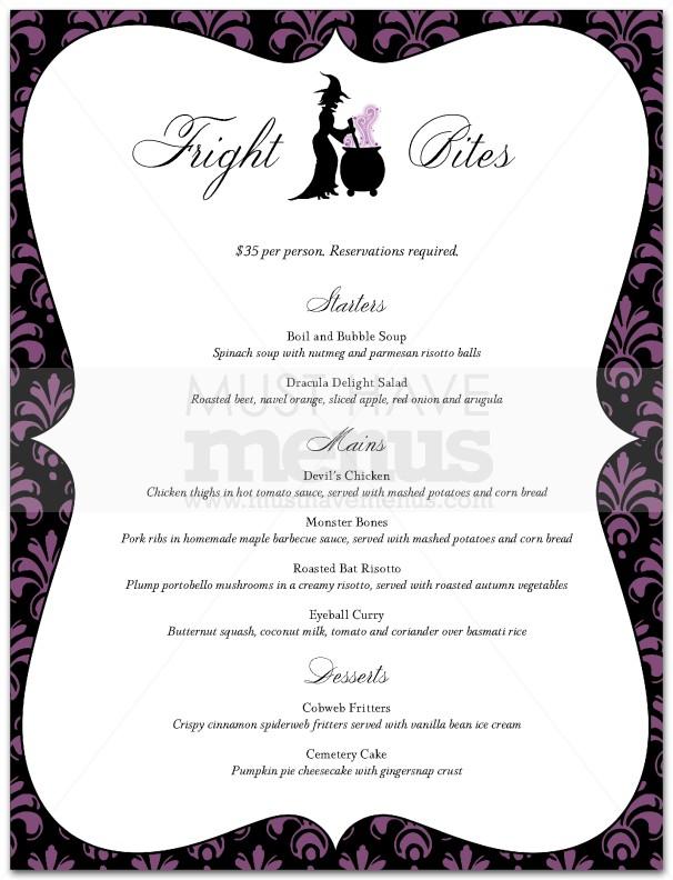 Halloween restaurant menu page 1 - Idee menu halloween ...