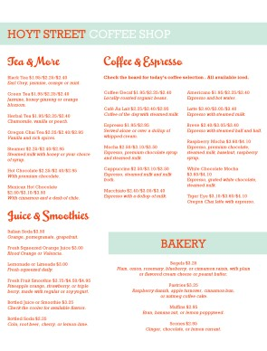 Customize Coffee Cafe Menu