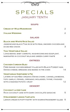 Market Cafe Specials Menu | Daily Special Menus