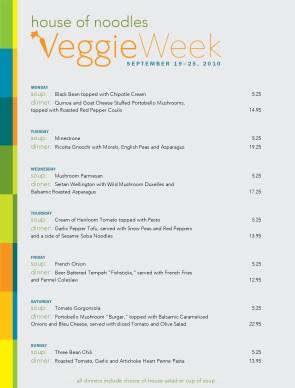 vegetarian menu: