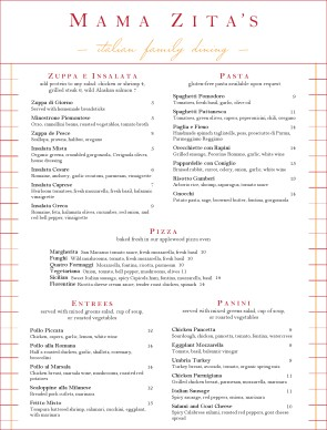 Italian cuisine menu italian menus - Italian cuisine menu list ...
