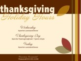 Thanksgiving Holiday Hours Flyer