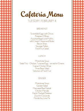 Todays cafeteria menu cafeteria menus for Hospital menu template