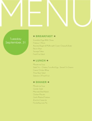 Customize Todays Menu