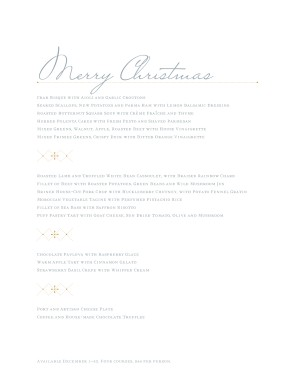 Customize Merry Christmas Menu