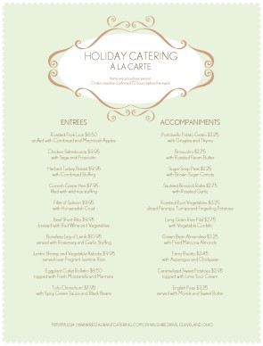 Catering Holiday Menu | Catering Menus