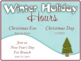 Winter Holiday Hours Flyer