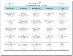 school menu templates